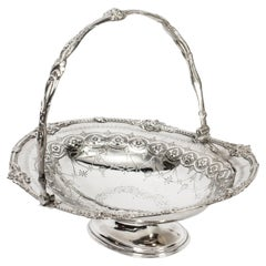 Antique Silver Plated Fruit Basket by Henry Atkins & Co 19th C