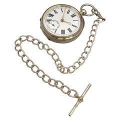 Antique Silver Plated Key-Winding Pocket Watch with a Chain