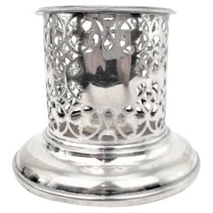 Antique Silver Plated Pierced Wine Bottle Coaster with Turned Wooden Base