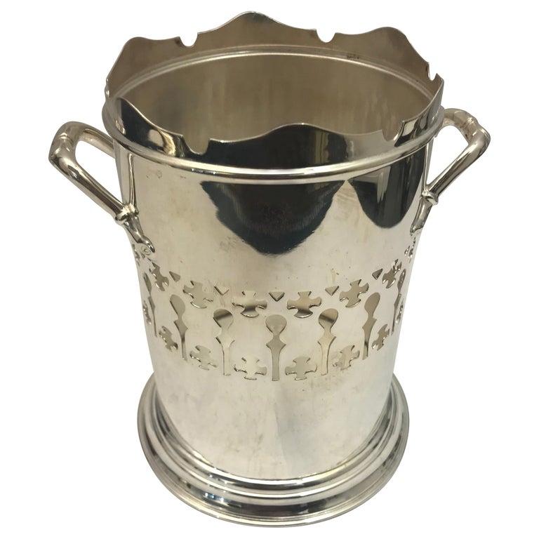 Antique Silver Plated Pierced Wine Bottle Holder For Sale