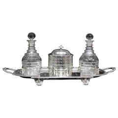 Antique Silver Plated Sherry Stand with Glass Decanters and Biscuit Barrel