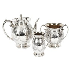 Antique Silver Plated Three Piece Tea Set Atkin Brothers, 19th Century