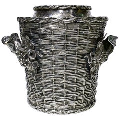 """Antique Silver Plated """"Trompe L'oeil"""" Wine Cooler Bucket, England, circa 1880"""