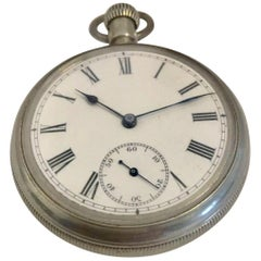 Antique Silver Pocket Watch Signed The Waterbury Watch Co. for Repair