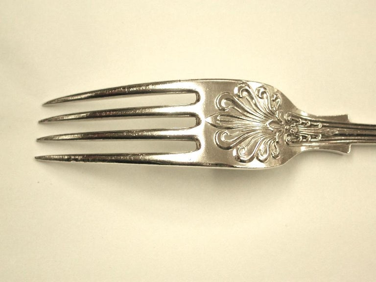 Antique Silver Queen's Pattern Child's Spoon and Fork, 1900, Sheffield For Sale 3