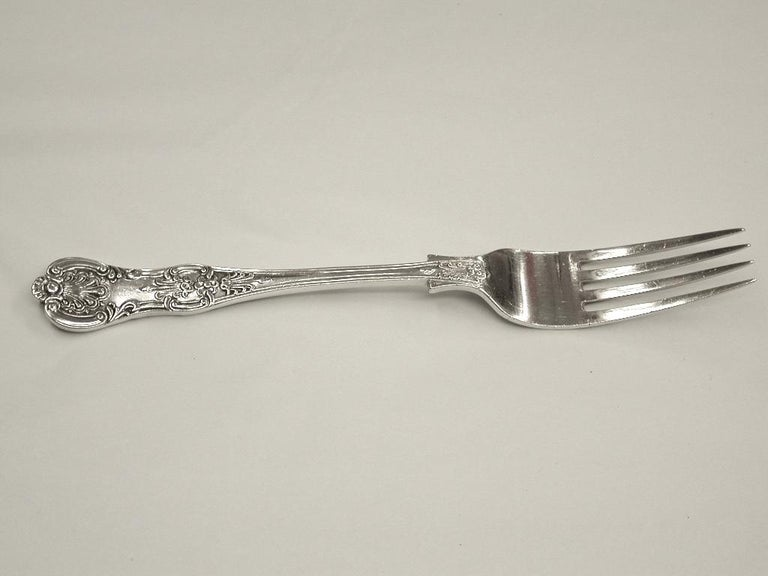 Antique Silver Queen's Pattern Child's Spoon and Fork, 1900, Sheffield In Good Condition For Sale In London, GB