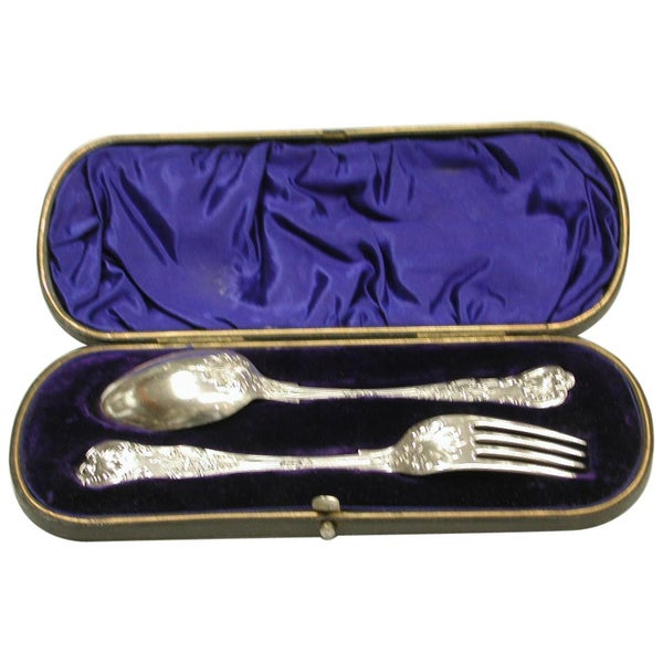 Antique Silver Queen's Pattern Child's Spoon and Fork, 1900, Sheffield