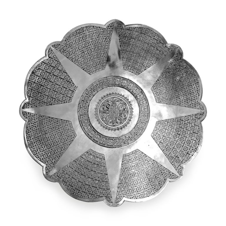 Antique Silver Round Tray with Hand Curved In Fair Condition For Sale In Jackson Heights, NY