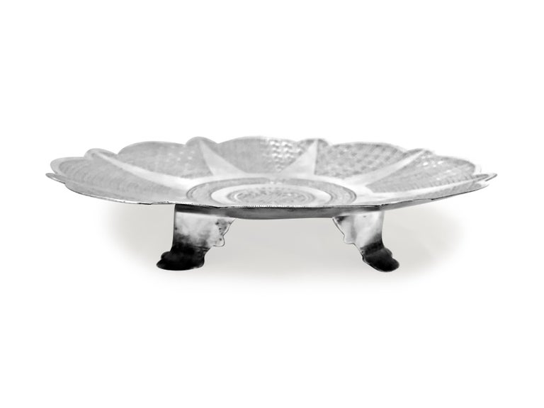 Women's or Men's Antique Silver Round Tray with Hand Curved For Sale