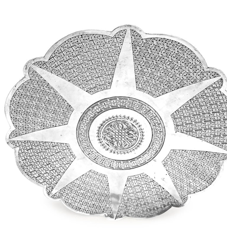 Antique Silver Round Tray with Hand Curved For Sale 1