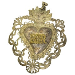 Beautiful Silver Sacred Heart Ex Voto Monogramed, Antique European, 1910s