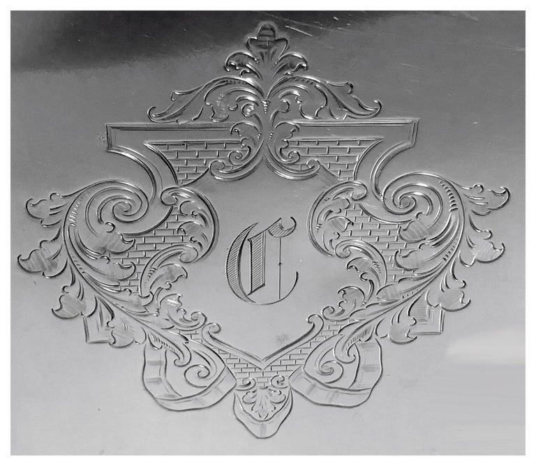 Georgian Antique Silver Salver, London 1892 Edward Hutton William Hutton and Sons For Sale
