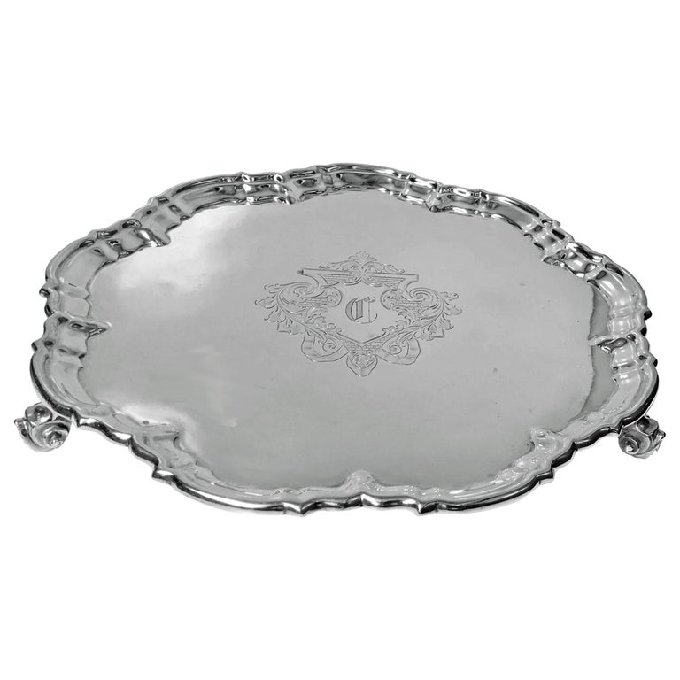 Antique Silver Salver, London 1892 Edward Hutton William Hutton and Sons For Sale