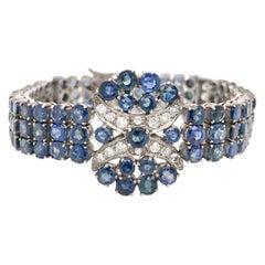 Antique Silver Sapphire and Diamond Bracelet
