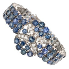 Antique Silver Sapphire and Diamond Bracelet