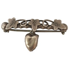 Antique Silver Single Heart and 3 Vines Brooch / Pin