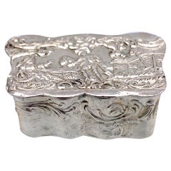 Antique Silver Snuff Pill Box with Rural Scene