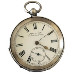 Antique Silver Swiss Made Pocket Watch Signed H. Samuel Manchester Acme Lever