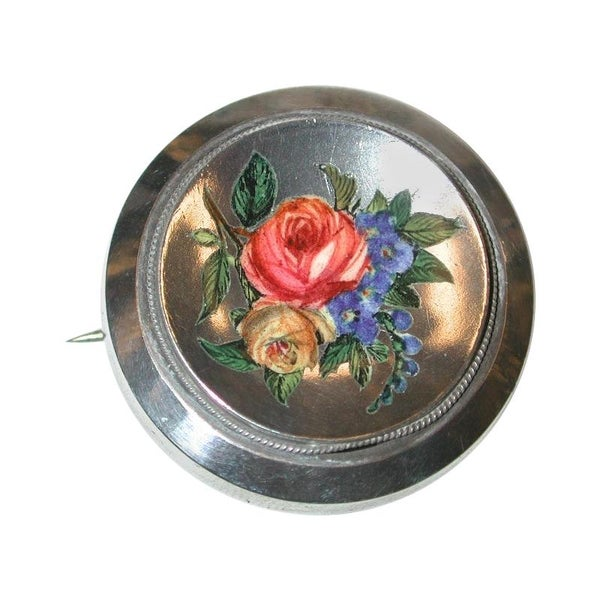 Antique Silver Target Brooch with Flower Enameled Front, Dated circa 1880