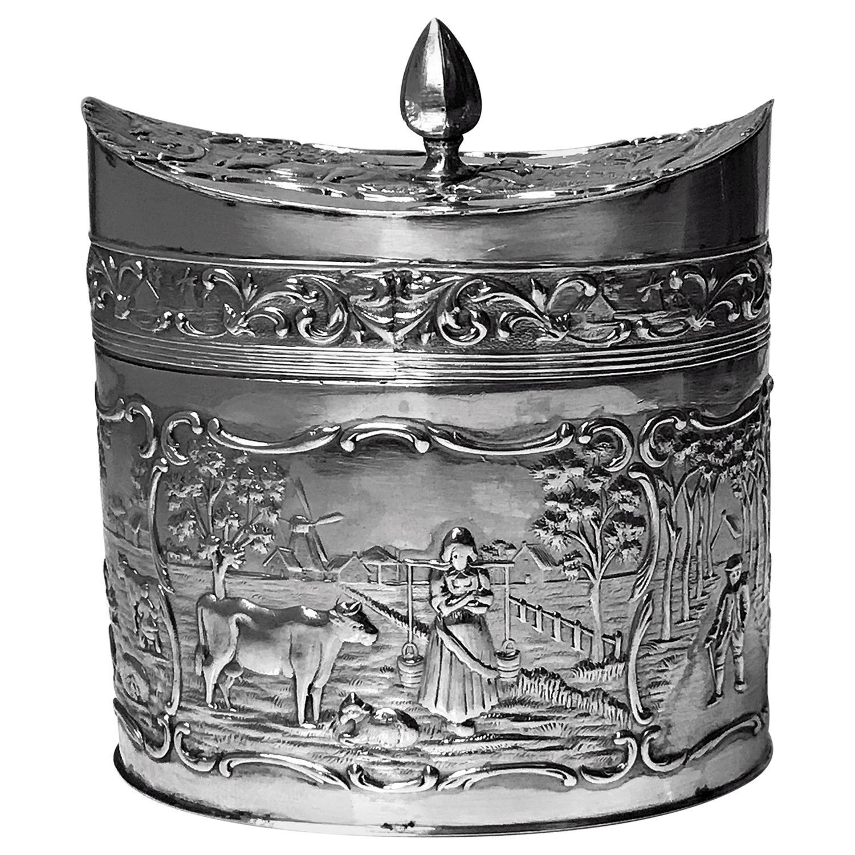 Antique Silver Tea Caddy, H. Hooykaas Dutch, circa 1900