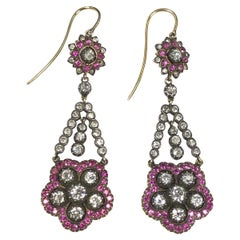 Antique Silver Top Gold Diamond and Ruby Long Dangle Earrings