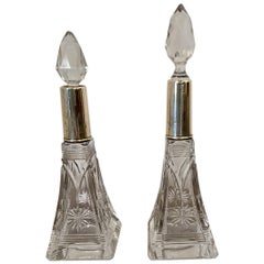 Antique Silver Topped Cut Glass Scent Bottles