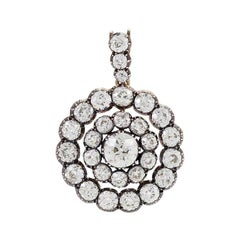 Antique Silver-Topped Gold and Diamond Pendant