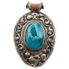 Antique Silver Turquoise Agate Pendant Made in Tibet