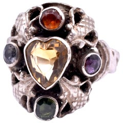 Antique Silver Victorian Citrine, Tourmaline and Amethyst Heart Ring