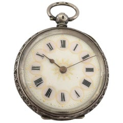 Antique Silver with Pink Enamel and Gold Inlaid Dial Key Wind Pocket Watch