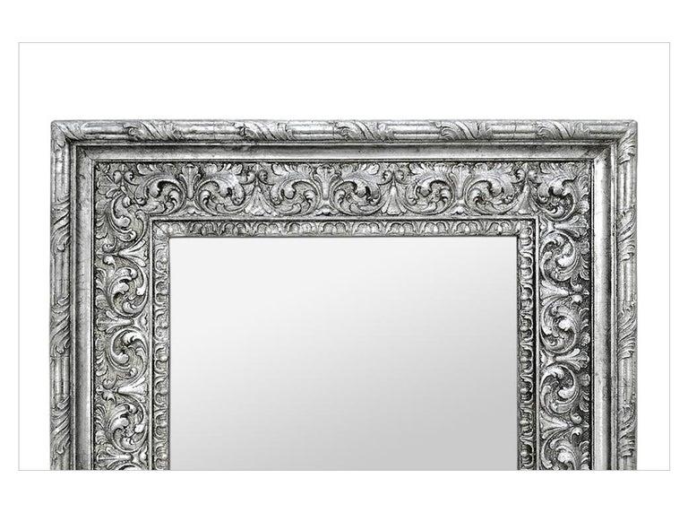 Gilt Antique Silver Wood Mirror, Baroque Style, circa 1930 For Sale