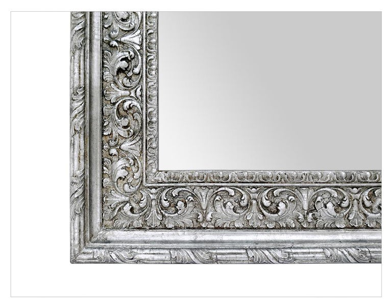 Antique Silver Wood Mirror, Baroque Style, circa 1930 In Good Condition For Sale In Paris, FR