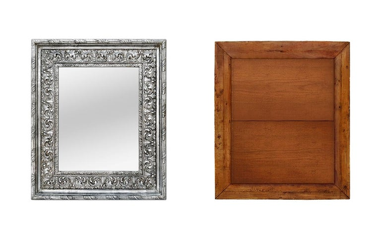 Early 20th Century Antique Silver Wood Mirror, Baroque Style, circa 1930 For Sale