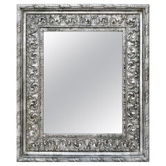 Antique Silver Wood Mirror, Baroque Style, circa 1930