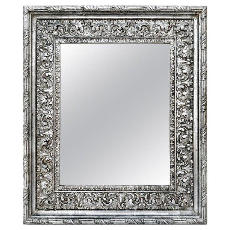 Antique Silver Wood Mirror, Baroque Style, circa 1930 For Sale