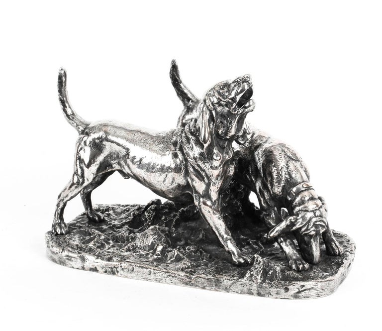 Antique Silvered Bronze Hunting Dogs by Elkington, 19th Century For Sale 8