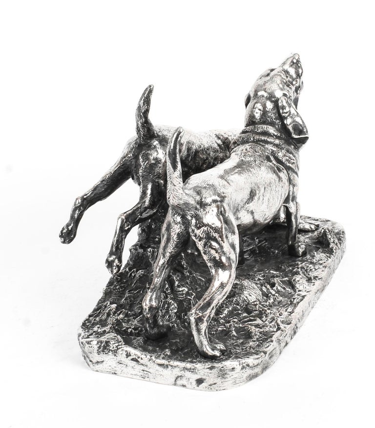 Antique Silvered Bronze Hunting Dogs by Elkington, 19th Century For Sale 1