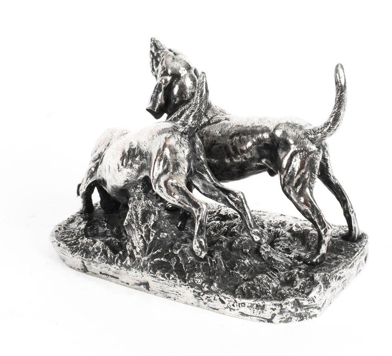 Antique Silvered Bronze Hunting Dogs by Elkington, 19th Century For Sale 2