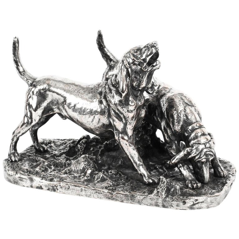 Antique Silvered Bronze Hunting Dogs by Elkington, 19th Century For Sale