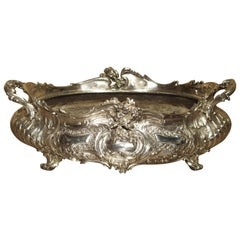 Antique Silvered Bronze Jardinière from France, 19th Century