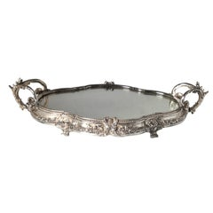 Antique Silvered Bronze Mirrored Plateau 19th Century