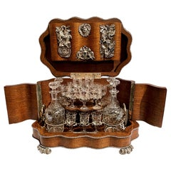 Antique Silvered Bronze Mounted Cave À Liqueur with Hunting Motifs, circa 1880
