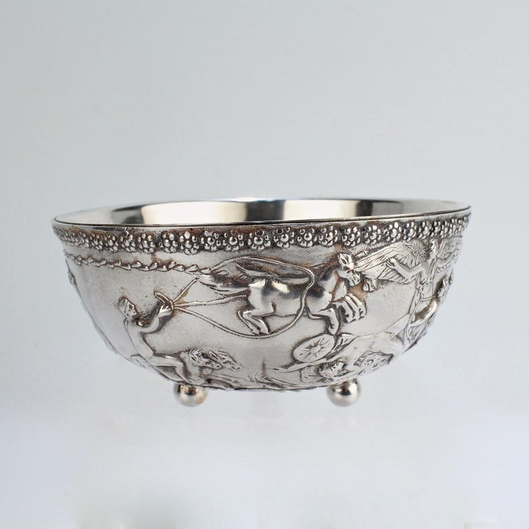 Etruscan Revival Antique Silvered Bronze Roman or Archaeological Revival Bowl by E F Caldwell For Sale