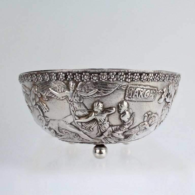 Antique Silvered Bronze Roman or Archaeological Revival Bowl by E F Caldwell For Sale 1