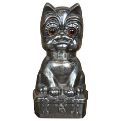 Antique Silvered French Bulldog Money Box, Germany, 1920s