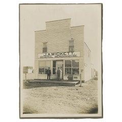 Antique Silverprint of Two Men in Front of Merchandise Store 'J.A. Wickett'