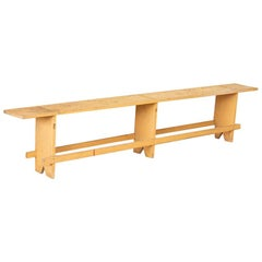 Antique Simple Long Pine Bench from Hungary