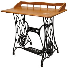 Antique Singer Sewing Machine Cast Iron Victorian Base Maple Console Desk Top
