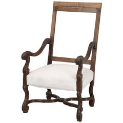 Antique Single French Armchair, Restored with Horsehair Padding