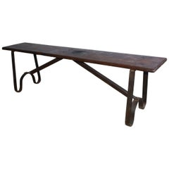 Antique Single Hard-Wood Plank Coffee Table or Bench